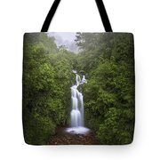 Foggy Waterfall Tote Bag