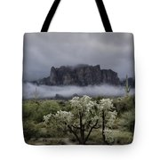 Foggy Winter Morning In The Supes  Tote Bag