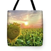 Foggy Yellow Fields 3 Tote Bag