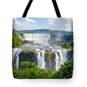 Foliage In And Around Waterfalls In Iguazu Falls National Park-brazil  Tote Bag