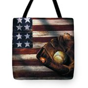 Folk Art American Flag And Baseball Mitt Tote Bag by Garry Gay