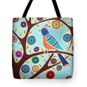 Folk Bird In Tree Tote Bag