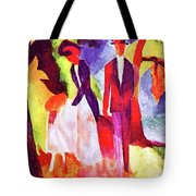 Folks At The Blue Sea By August Macke Tote Bag