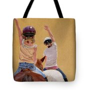 Follow The Leader - Horseback Riding Lesson Painting Tote Bag