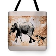 Following Mum - Mother And Baby Elephant Animal Decorative Poster  4 - By Diana Van Tote Bag