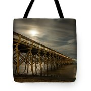 Folly Beach Pier At Full Moon Tote Bag