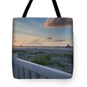 Folly Pier Sunrise Tote Bag