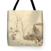 Fontainebleau, Figure Leaning Against A Rock Tote Bag