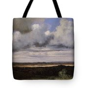 Fontainebleau Storm Over The Plains Jean-baptiste-camille Corot Tote Bag