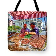 Food Booth In Valparaiso Square-chile Tote Bag