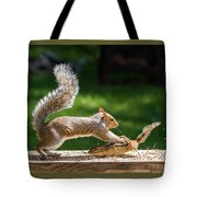 Food Fight Squirrel And Chipmunk Tote Bag