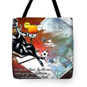 Football Derby Rams On Holidays By The Sea Tote Bag