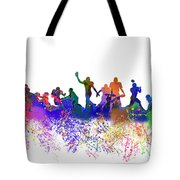 Football Players Skyline Tote Bag