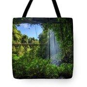 Footbridge And Crystal Falls  In The Rainforest Of Dorrigo In Australia Tote Bag