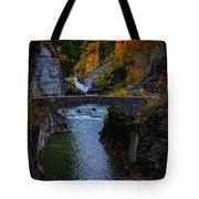 Footbridge At Lower Falls Tote Bag by Rick Berk