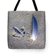 Footprint And Feather Tote Bag