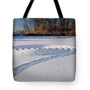 Footprint Snow Ring On A Frozen River In Winter At The Toronto I Tote Bag