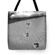 Footprints In The Sand Black And White Tote Bag