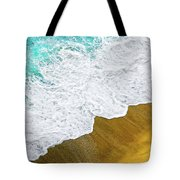 Footsteps In The Sand Hopelessly Facing The Rising Tide  Tote Bag