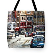 For Sale Original Paintings Montreal Petits Formats A Vendre Downtown Montreal Rue Stanley Cspandau  Tote Bag