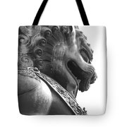 Forbidden City Lion - Black And White Tote Bag