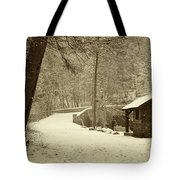 Forbidden Drive In Winter Tote Bag by Bill Cannon