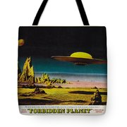 Forbidden Planet In Cinemascope Retro Classic Movie Poster Detailing Flying Saucer Tote Bag