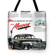 Ford Mercury Ad, 1946 Tote Bag
