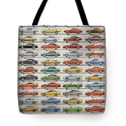 Ford Mustang Timeline History 50 Years Tote Bag
