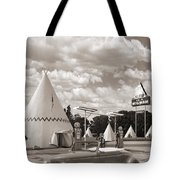 Ford Roadster At An Indian Gas Station Sepia Tote Bag