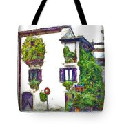 Foreshortening Of House Covered With Climbing Plants Tote Bag