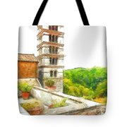 Foreshortening With Bell Tower And Wood Tote Bag