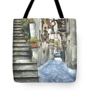 Foreshortening With Stairs Tote Bag