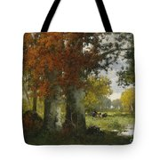 Forest Clearing With Women Gathering Brushwood Tote Bag
