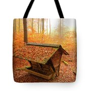 Forest In Autumn With Feed Rack Tote Bag