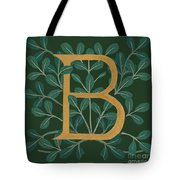 Forest Leaves Letter B Tote Bag