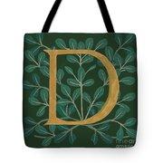 Forest Leaves Letter D Tote Bag