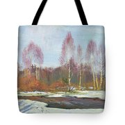 Forest River In Winter Tote Bag