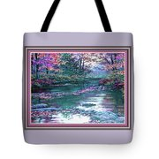 Forest River Scene. L B With Decorative Ornate Printed Frame. Tote Bag