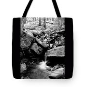 Forest Stream In Black And White Tote Bag