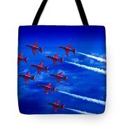Formation Flying Britains Red Arrows Tote Bag
