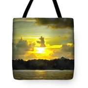 Fort Island Trail Sunset Tote Bag