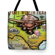 Fort Worth Texas Cartoon Map Tote Bag