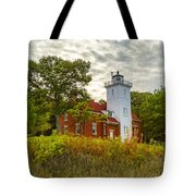 Forty Mile Point Lighthouse Lake Huron Lower Peninsilat Mi  Tote Bag