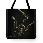 Fossil Record - Gold Pterodactyl Fossil On Black Canvas #4 Tote Bag