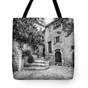 Fountain Courtyard In Eze, France 2, Blk White Tote Bag