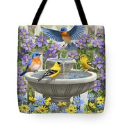 Fountain Festivities - Birds And Birdbath Painting Tote Bag by Crista Forest