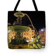 Fountain In Rossio Square Tote Bag