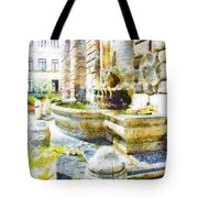 Fountain On The Facade Of The Municipality Tote Bag