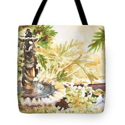Fountain With Clay Birds Tote Bag